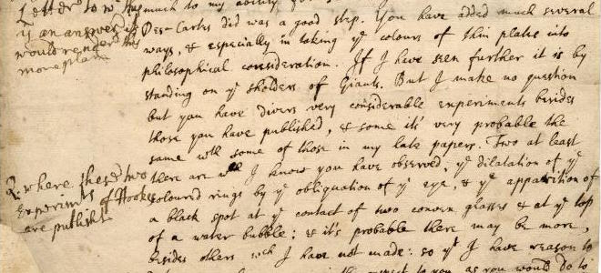 Letter from Isaac Newton to Hooke